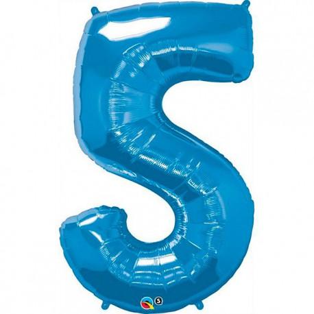 """Globos de Foil de 34"""" (86cm) número 5 Azul Zafiro"""
