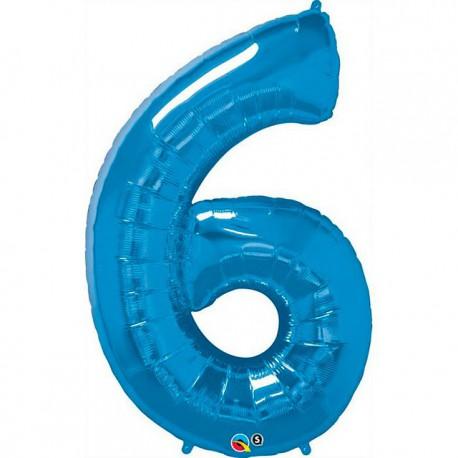 """Globos de Foil de 34"""" (86cm) número 6 Azul Zafiro"""