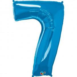 """Globos de Foil de 34"""" (86cm) número 7 Azul Zafiro"""