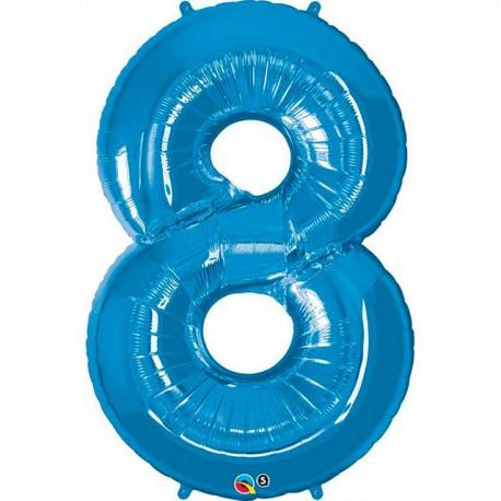 """Globos de Foil de 34"""" (86cm) número 8 Azul Zafiro"""