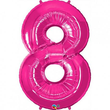 """Globos de Foil de 34"""" (86cm) número 8 Magenta"""