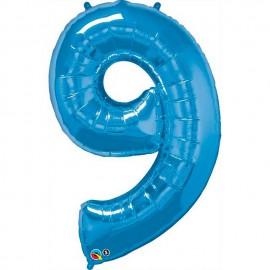 """Globos de Foil de 34"""" (86cm) número 9 Azul Zafiro"""