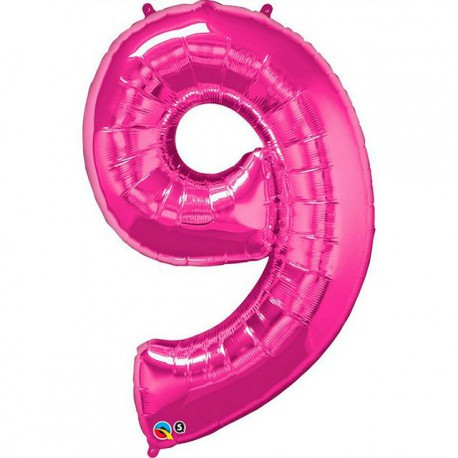 """Globos de Foil de 34"""" (86cm) número 9 Magenta"""