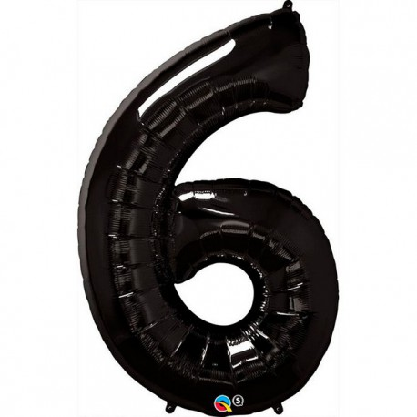 """Globos de Foil de 34"""" (86cm) número 6 Negro"""