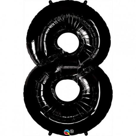 """Globos de Foil de 34"""" (86cm) número 8 Negro"""
