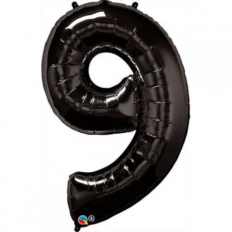 """Globos de Foil de 34"""" (86cm) número 9 Negro"""