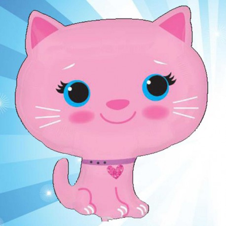 Globos de foil supershape Gato Rosa