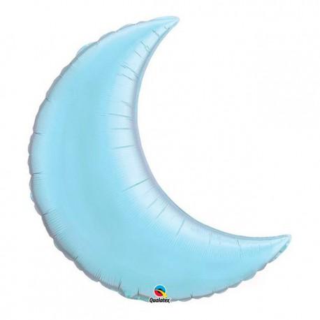 "Globos de foil luna creciente 35"" Azul Claro Perlado"
