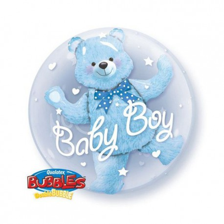 "Globos de foil de 24"" Bubbles doble Oso Azul"