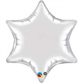 """Globos de foil Estrella 6 Puntas de 22"""" (56Cm) Plata qualatex"""