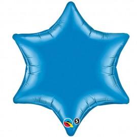 "Globos de foil Estrella 6 Puntas de 22"" (56Cm) Azul qualatex"