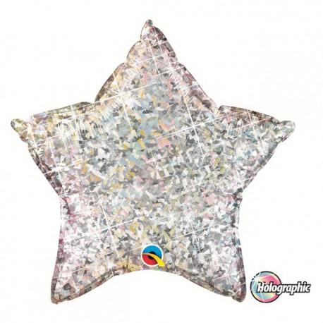 "Globos de foil Estrella de 20"" Holographic Plata"