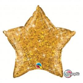 """Globos de foil Estrella de 20"""" Holographic ORO"""