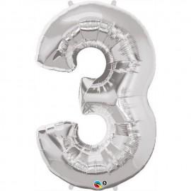 "Globos de Foil de 34"" (86cm) x 44"" (111Cm) Numero 3 Plata"