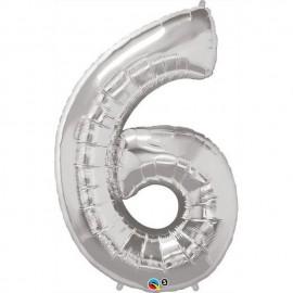 "Globos de Foil de 34"" (86cm) x 42"" (107Cm) Numero 6 Plata"