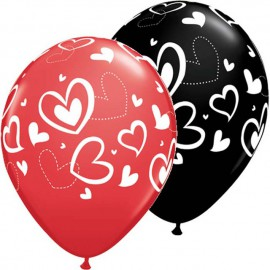 "Globos de 11"" Corazones Mix Match Qualatex"