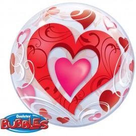 """Globos de foil de 22"""" Bubbles Corazones Filigrana"""