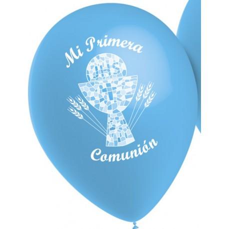 """Globos de 12"""" Comunion Celeste 1 Cara"""