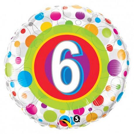 "Globos de foil de 18"" (45Cm) 6 Puntos de colores"