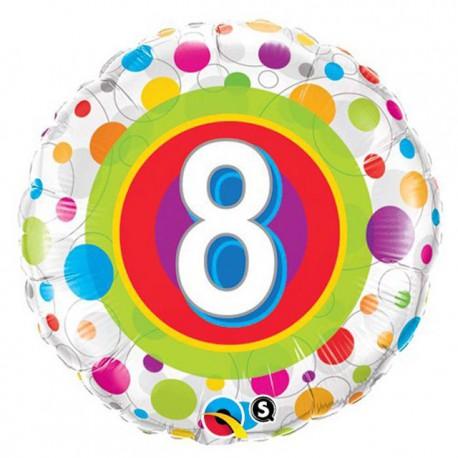 "Globos de foil de 18"" (45Cm) 8 Puntos de colores"