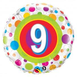 "Globos de foil de 18"" (45Cm) 9 Puntos de colores"