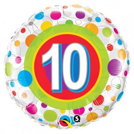 "Globos de foil de 18"" (45Cm) 10 Puntos de colores"