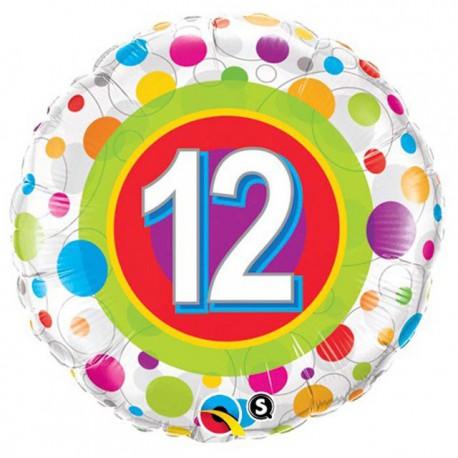 "Globos de foil de 18"" (45Cm) 12 Puntos de colores"
