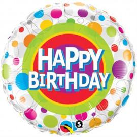 """Globos de foil de 18"""" (45Cm) Birthday Puntos de colores"""
