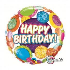 "Globos de foil de 18"" (45Cm) Birthday Puntazos holograficos"