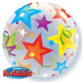 "Globos de foil de 22"" Bubbles Estrellas Brillantes"