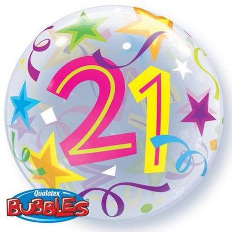 "Globos de foil de 22"" Bubbles 21 Estrellas Brillantes"