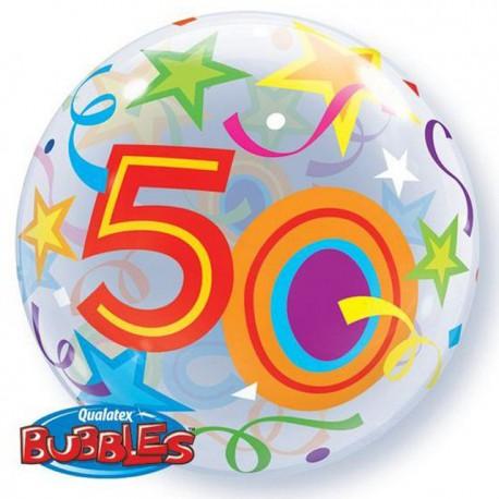 "Globos de foil de 22"" Bubbles 50 Estrellas Brillantes"
