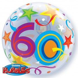 "Globos de foil de 22"" Bubbles 60 Estrellas Brillantes"