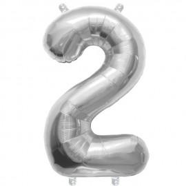 "Globos de Foil de 16"" (41cm) Numero ""2"" Plata"
