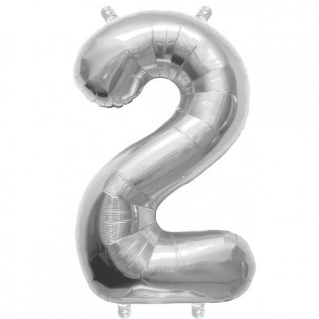 """Globos de Foil de 16"""" (41cm) Numero """"2"""""""