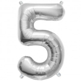 "Globos de Foil de 16"" (41cm) Numero ""5"" Plata"