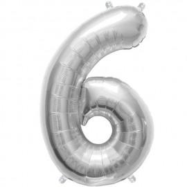 "Globos de Foil de 16"" (41cm) Numero ""6"" Plata"