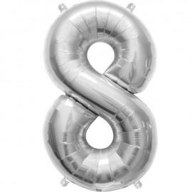 "Globos de Foil de 16"" (41cm) Numero ""8"" Plata"