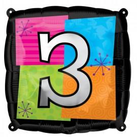 "Globos de foil de 18"" Número Tres"