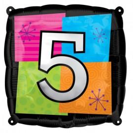 """Globos de foil de 18"""" Número Cinco"""