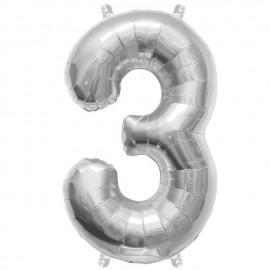 "Globos de Foil de 16"" (41cm) Numero ""3"" Plata"