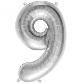 "Globos de Foil de 16"" (41cm) Numero ""9"" Plata"