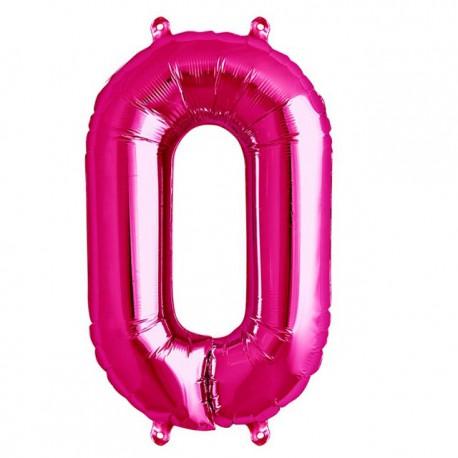 """Globos de Foil de 16"""" (41cm) Numero """"0"""" Magenta"""