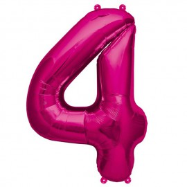 """Globos de Foil de 16"""" (41cm) Numero """"4"""" Magenta"""