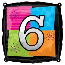 """Globos de foil de 18"""" Número Seis"""