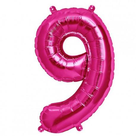 """Globos de Foil de 16"""" (41cm) Numero """"9"""" Magenta"""