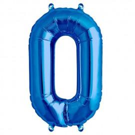 """Globos de Foil de 16"""" (41cm) Numero """"0"""" Azul"""