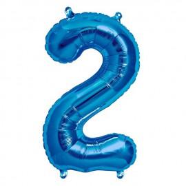 """Globos de Foil de 16"""" (41cm) Numero """"2"""" Azul"""