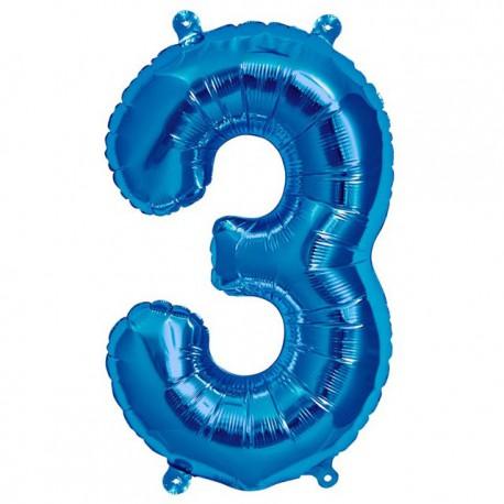 """Globos de Foil de 16"""" (41cm) Numero """"3"""" Azul"""