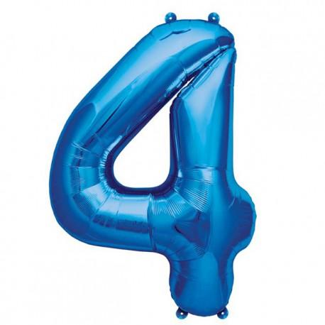 """Globos de Foil de 16"""" (41cm) Numero """"4"""" Azul"""